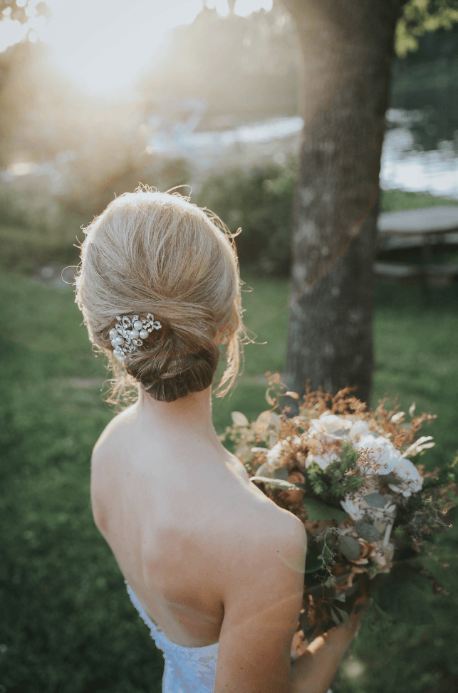 Brides silver hair clip and flowers